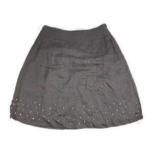 New Boden Gray Linen Fit and Flare Skirt Sz 6R